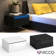 details zu vicco nachttisch led nachtschrank kommode schlafzimmer wandhängend set