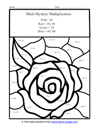 Multiplication Coloring Pages 9 Color Number Free Printable