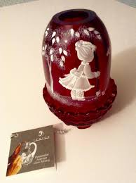Fenton Burmese Fairy Lamp by Nancy Fenton Mary Gregory Cranberry Fairy Candle Light American