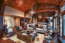 Modern Lodge Living Room Contemporary With Sheepskin Decorative Pillows