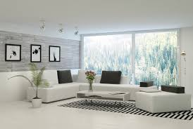 Bright White Living Room With Modern Sofas Topped Charcoal Pillows Stands Naturally Lit Via