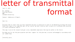 How To Write A Letter Transmittal Examples Letter Format