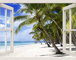 lake view wall decal 3d window wall decal nature wall