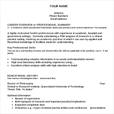 Academic Resume Writing Template For Free
