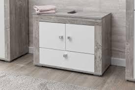 bad rü waschbecken unterschrank mit 2 türen und 1 klappe korpus beton dekor und front melamin dekor weiß