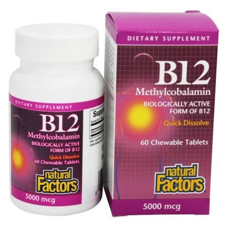 Natural Factors B12 Methylcobalamin - 5000 mcg, 60 Chewable Tablets