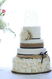 Rustic Wedding Cake Burlap And Navy Decorations