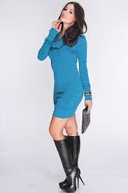 teal cowl neck long sleeve sweater dress amiclubwear