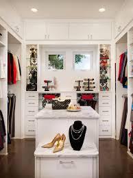 u shaped white closet white wooden drawers and shelves plus