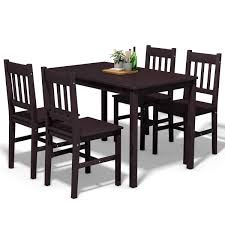 Giantex 5 Piece Wood Dining Table Set 4 Chairs Home Kitchen Breakfast  Furniture (Brown) Argos Home Lido Glass Ding Table 4 Chairs Black Winsome Wood Groveland Square With 5piece Ktaxon 5 Piece Set4 Chairsglass Breakfast Fniture Crown Mark Etta And Bench 22256p Hesperia Casual Drop Leaves Storage Drawer By Coaster At Value City Braden Set Includes Morris Furnishings Tall Ding Table Chairs Height Canterbury Ekedalen Dark Brown Orrsta Light Gray Cascade Round Kincaid Becker World Costway Metal Kitchen