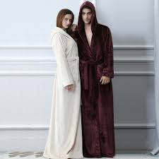 robe de chambre homme chaude amoureux plus la taille capuche flanelle chaud peignoir