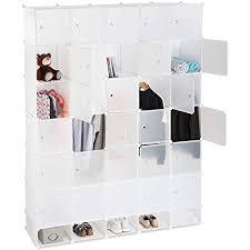 relaxdays weiß kleiderschrank stecksystem 25 fächer groß 5 kleiderstangen schlafzimmerschrank hxb 234x180 cm standard