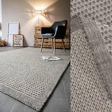 teppich webteppich natur braun wohnzimmer esszimmer meliert bordüre ebay