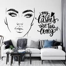 wimpern sind zu lange wand vinyl aufkleber zitat mascara mädchen zimmer dekor make up wand decals für wohnzimmer schönheit salon a560