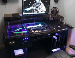 Lian Li Computer Desk by Fascinating Gaming Pc Costum Desk With Glass Top And Shelf Above