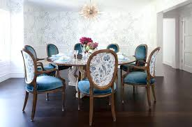 Blue And White Dining Room Round French Table With Velvet Oval Back Chairs