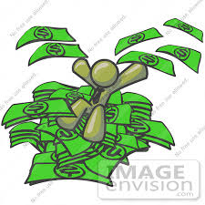 Clip Art Graphic of an Olive Green Guy Character Jumping in a Pile of
