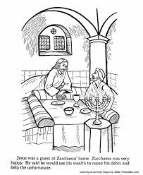 Jesus Teaches Coloring Pages P19 Goes To Zacchaeuss House