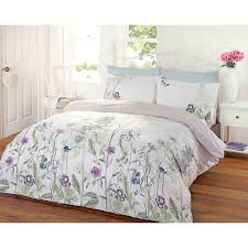 Lush Decor Belle 4 Piece Comforter Set by Garden Floral Duvet Cover Reversible Stripe Bedding White Duck Egg