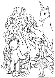 Barbie And Unicorn Coloring Page