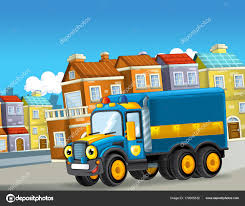 Happy Funny Cartoon Police Truck Looking Smiling Driving City ...