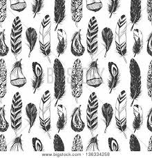 Feathers In Native American Indian Style Hand Drawn Hipster Background Seamless Vector Pattern