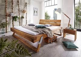 massivholzbett aus massivem fichtenholz in balken optik kaufen otto