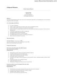 Lifeguard Resume Sample Summary Examples Cv Example