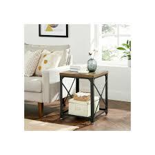 vasagle beistelltisch nachttisch rustikale tischoberfläche stahlrahmen einfache montage industriestil für schlafzimmer wohnzimmer