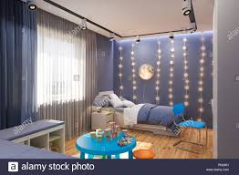 100 Interior Design Kids 3d Render Of The Childrens Bedroom In Deep Blue Color
