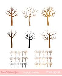 Fingerprint tree clip art Bare tree silhouette clipart Thumbprint wedding tree clipart Winter tree clipart Leafless tree Family tree