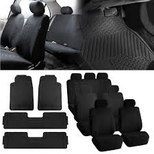 BESTFH: 3Row 7 Seats SUV Black Seat Covers With Black Floor Mats For ...
