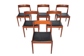 SET OF SIX KAI KRISTIANSEN FOR FRITZ HANSEN TEAK + LEATHER ...