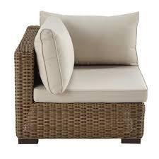 canape resine tressee angle de canapé de jardin en résine tressée et tissu beige