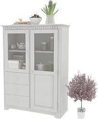 highboard weiß vitrine schrank esszimmer wohnzimmer landhaus