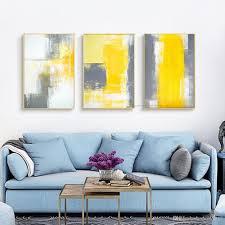 großhandel 3 stück leinwand gemälde abstraktes ölgemälde handgefertigt helle gelbe graue wandkunst leinwand wandbilder für wohnzimmer cyon2017
