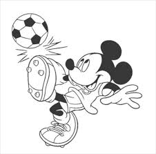 Mickey Mouse Playing Foot Ball Coloring Page PDF Free Download