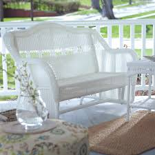 Resin Benches Outdoor by Resin Bench White Resin Wicker Outdoor 2 Seat Glider Bench Patio