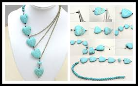 How To Make Pretty DIY Beaded Chain Necklace With Bronzed Chains And Turquoise Beads Step By Tutorial Instructions