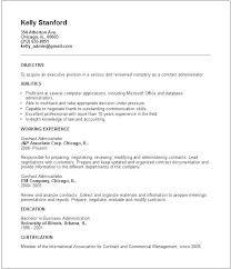 Contract Administrator Resume Job Description