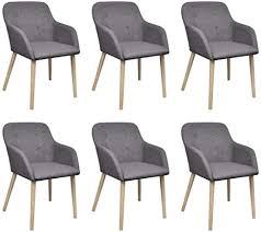 vidaxl 6x eiche massiv esszimmerstuhl stoff hellgrau stuhl küchenstuhl sessel