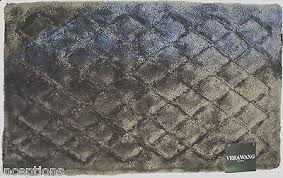 Vera Wang Cotton Blend Bath Rug 21x 34 Diamond Pattern Dark Taupe