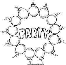 Party Clipart Black And White Happy Birthday Banner Printable Pages