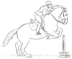 Click The Jumping Horse With Rider Coloring Pages