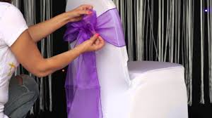 Wedding Chair Sash Buckles by How To Various Ways To Tie An Organza Sash To A Chair Cover Youtube