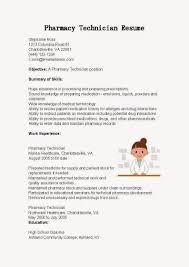 Resume Samples Pharmacy Technician Sample