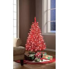 Holiday Time Pre Lit 4 Red Tinsel Artificial Christmas Tree Clear Lights