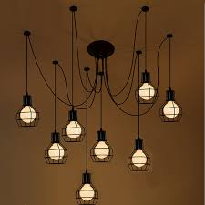 loft antique retro spider chandelier black diy e27 vintage