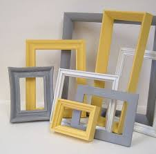 Yellow And Grey Home Decor Picture Frames Modern Wall Gallery Set
