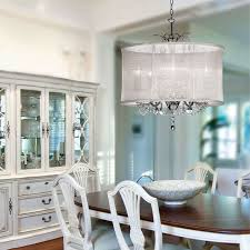 Organza Silk Drum Shade Crystal Chandelier Contemporary Dining Room